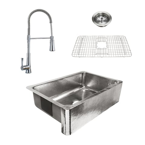 Percy Apron-Front Polished Stainless Steel 32 in. Single Bowl Kitchen Sink with Pfister Zuri Faucet All-in-One Kit