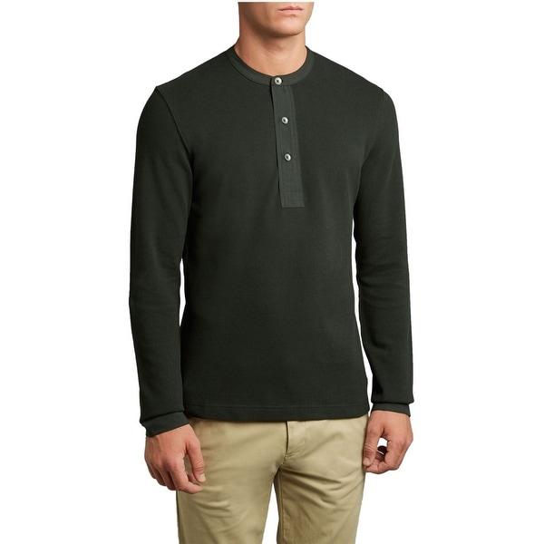 FARRELL Dark Green Henley Military T-Shirt Medium Long Sleeves Cotton Shirt
