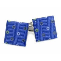 Blue Cufflinks With Flowers