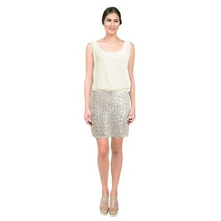 Laundry Pearl Sequin Blouson Mini Cocktail Eve Dress