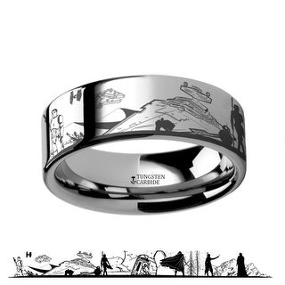Star Wars Force Awakens Scene Jakku Luke Skywalker Rey Kylo Ren Scene Tungsten Engraved Ring by Thorsten Rings - 8mm