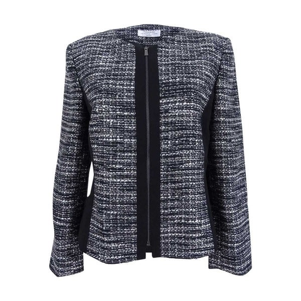 482f93e2312 Shop Tahari ASL Women s Plus Size Metallic Boucle Jacket - Black Grey Ivory  - 24W - Free Shipping Today - Overstock - 22992639