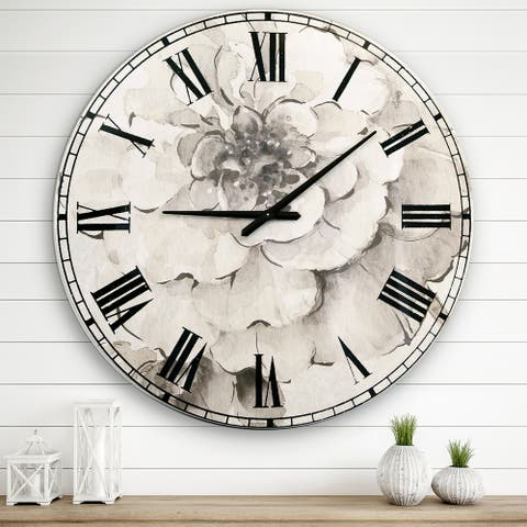 Designart 'Indigold Grey Peonies I' Farmhouse Large Wall Clock