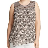 Nic + Zoe Black Beige Monkey Print Women's 3X Plus Overlay Blouse
