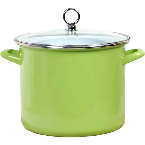 Calypso Basics by Reston Lloyd Enamel on Steel Stockpot with Glass Lid, 8-Quart, Lime