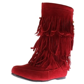 West Blvd Womens Lima Moccasin Faux Suede Fringe Winter Boots - 5.5