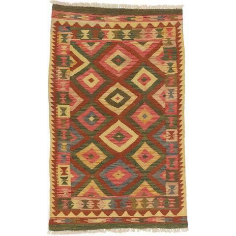 ECARPETGALLERY Flat-weave Sivas Orange, Gold Wool Kilim - 3'1 x 5'0
