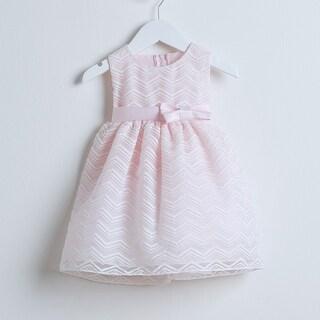 Sweet Kids Baby Girls Pink Chevron Organza Easter Occasion Dress 6-24M