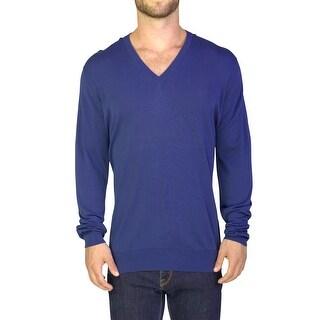 Prada Men's Cotton V-Neck Sweater Blue - XL