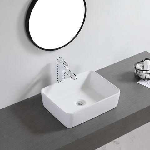 "Ceramic Basin Above Counter Basin Beveled Rectangle White - 7'6"" x 9'6"""