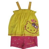 Hello Kitty Little Girls Yellow Fuchsia Sparkle Applique 2 Pc Shorts Set 4-6X