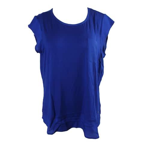 Calvin Klein Plus Size Regatta Blue Layered-Look T-Shirt 0X