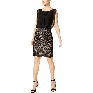 Calvin Klein Womens Party Dress Lace Contrast Sleeveless