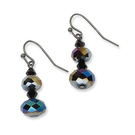 Black IP Black & Hematite Crystal & Glass Beads Dangle Earrings