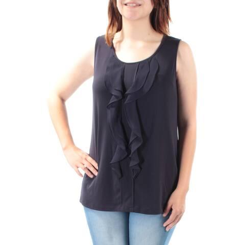 CHARTER CLUB Womens Navy Ruffled Sleeveless Jewel Neck Top Size: S
