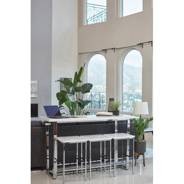Silver Orchid Bosse 4-piece Rectangular Counter Height Set. Opens flyout.
