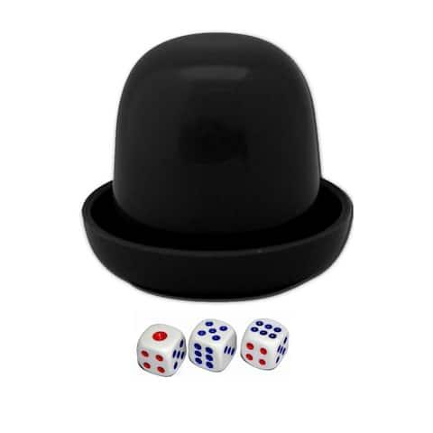 Unique Bargains Game Dice Roller Cup Black w 3 Dices