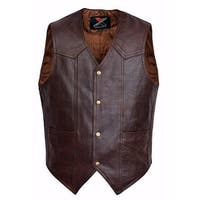 Men Motorcycle Leather Vest Classic Western Style Brown V118