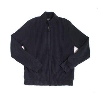 Alfani NEW Black Mens Size Large L Full Zip Ribbed Regular Fit Sweater