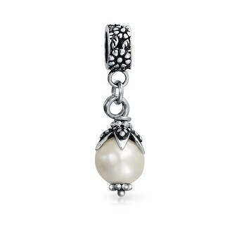 Bling Jewelry Imitation Pearl 925 Silver Dangle Bead Charm