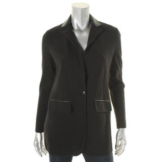 Lauren Ralph Lauren Womens Blazer Leather Trim Knit - m