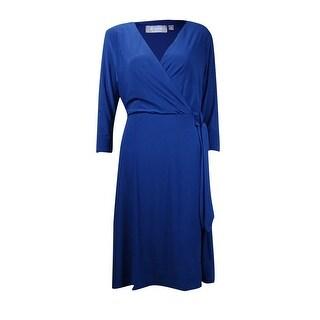 B-Slim Women's V-Neck 3/4 Sleeve Jersey Dress