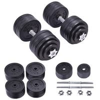 Costway 200 LB Weight Dumbbell Set Adjustable Cap Gym Barbell Plates Body Workout - Black