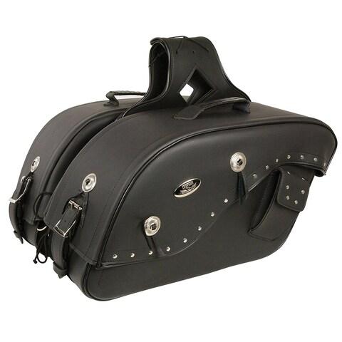 Black Leather Motorcycle Saddle Bags 13X10X6X19