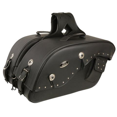 Black Leather Motorcycle Saddle Bags 13X10X6X19 - One Size