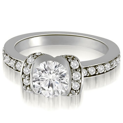 1.00 cttw. 14K White Gold Round Cut Diamond Engagement Ring