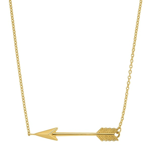 Just Gold Horizontal Arrow Necklace in 14K Gold - Yellow