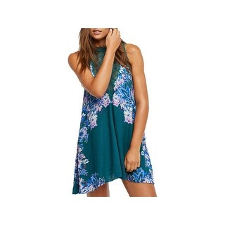 Free People Womens Marsha Mini Dress Floral Print Lace-Inset