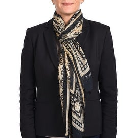 Versace Women's Gold Ornamental Printed Scarf Black Gold