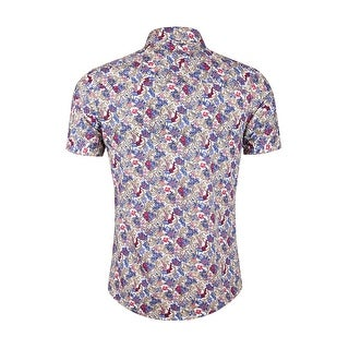 Men Short Sleeve Button Front Floral Print Cotton Beach Hawaiian Shirt
