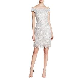 Kay Unger Womens Cocktail Dress Metallic Lace