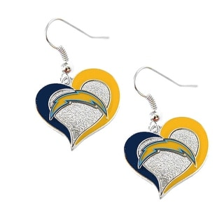 NFL SAN Diego Chargers Swirl Heart Shape Dangle logo Earring Set Charm Gift