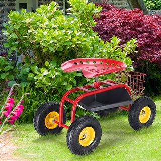 Link to Red/Green Garden Cart Rolling Work Seat With Heavy Duty Tool Tray Gardening Planting-Red - Red Similar Items in Yard Care