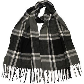 Winter or Fall Cold Weather Irish Plaid Long Cashmere Feel Scarf, Black Grey