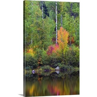 """Autumn color trees along Pike River, water reflection, Minnesota"" Canvas Wall Art"