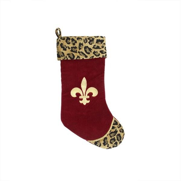 "20"" Diva Safari Fleur de Lis and Burgundy Velveteen Christmas Stocking with Leopard Print Cuff"