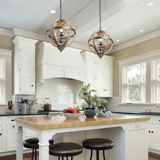 """Link to The Gray Barn Ridge Farmhouse Pendant Lighting with Distressed Wood for Kitchen Island - W 15.7""""x H 21.5"""" Similar Items in Pendant Lights"""