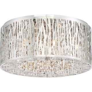 """Platinum PCGO1616 Grotto 6 Light 16"""" Wide Flush Mount Ceiling Fixture with Clear Glass"""