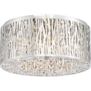 "Platinum PCGO1616 Grotto 6 Light 16"" Wide Flush Mount Ceiling Fixture with Clear Glass"