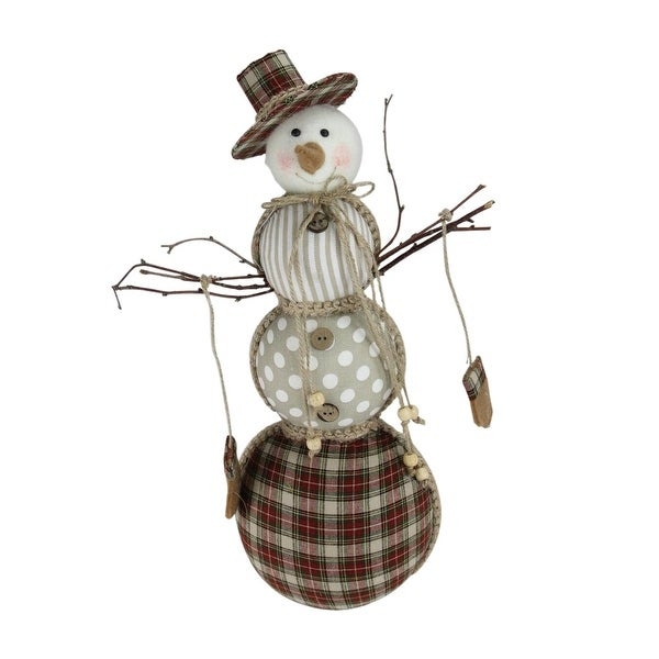 """15.75"""" Brown and White Patterned Snowman Christmas Decoration"""