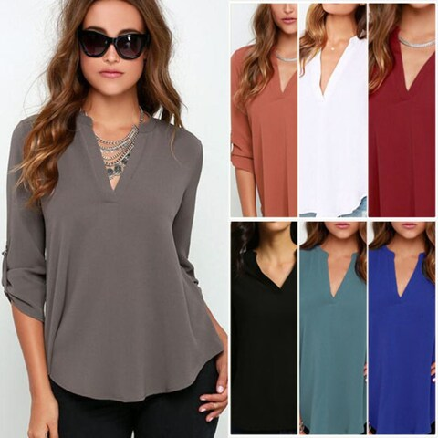 Roll Tab Sleeve V Neck Chiffon Blouse Top in Plus Size