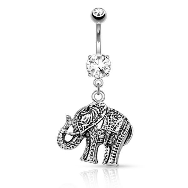"Elephant Dangle Surgical Steel Belly Button Navel Ring - 14GA - 3/8"" Length (Sold Ind.)"