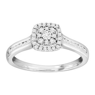 1/3 ct Diamond Cushion Engagement Ring in Sterling Silver