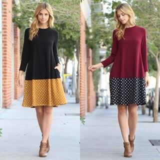 RIAH FASHION'S Polka Dot Contrast Pocket Dress