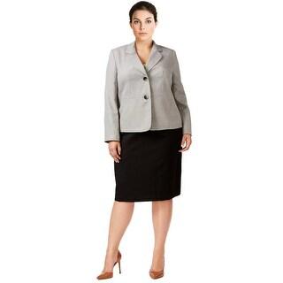 Le Suit Plus Size Tweed Colorblocked Skirt Suit - 18W