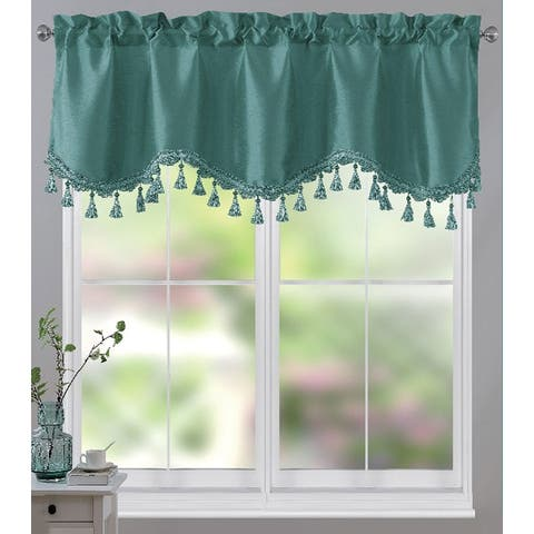 Melanie Faux Silk Scalloped Window Valance with Beaded Tassels, 55x18 Inches